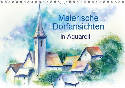 Malerische Dorfansichten in Aquarell (Wandkalender 2019 DIN A4 quer), Jitka Krause