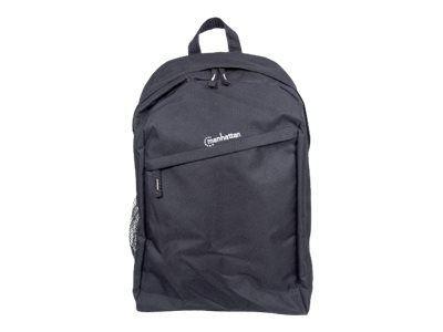 MANHATTAN Knappack Notebook Rucksack fuer Notebooks bis 37,5 cm 15,6 Top Load schwarz Leichtes strapazierfaehiges Material