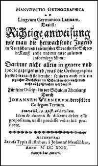 Manuductio Orthographica, Johann Werner
