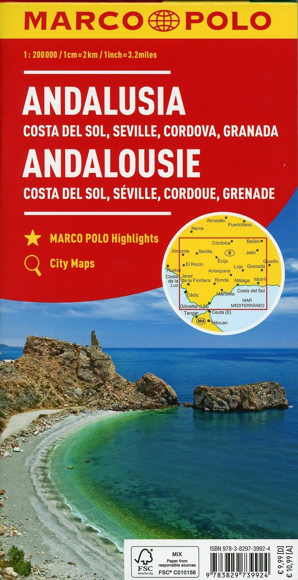 e269de1773 MARCO POLO Karte Andalusien, Costa del Sol, Sevilla, Cordoba, Granada 1:200  000; Andalousie - Costa del Sol, Séville, Co