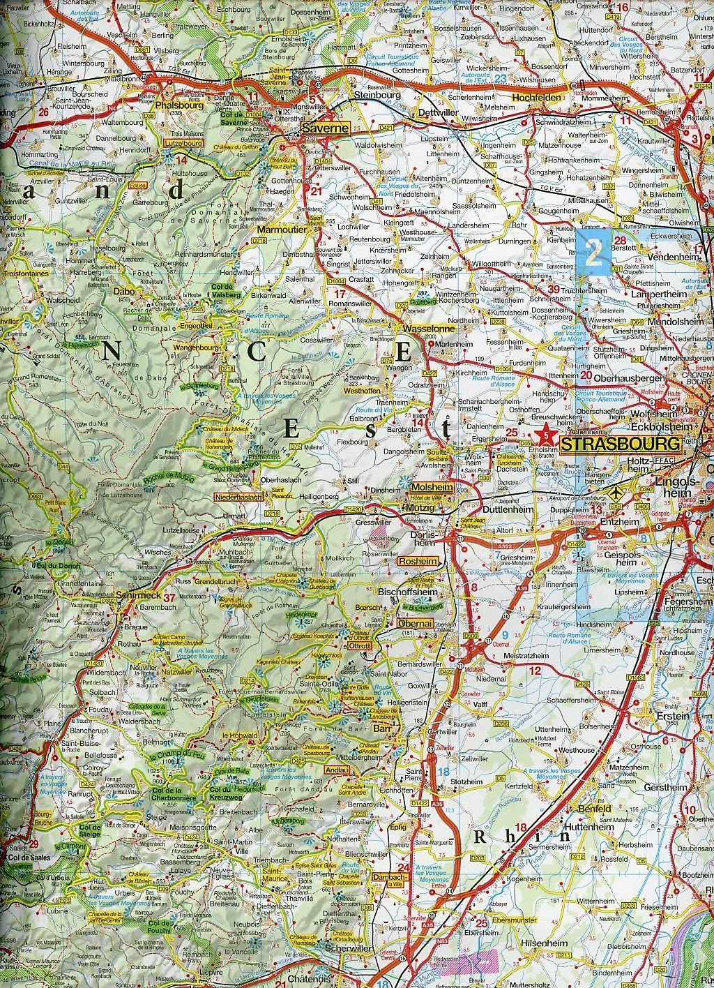 Elsass Karte Frankreich.Marco Polo Karte Frankreich Vogesen Elsass Schwarzwald 1 200 000