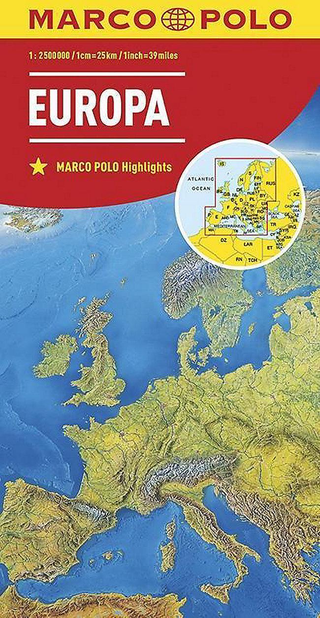 Europa Karte Physisch.Marco Polo Karte Länderkarte Europa Physisch 1 2 500 000 Europe Buch