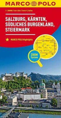 MARCO POLO Karte Salzburg, Kärnten, Südliches Burgenland, Steiermark; Salzburg, Carinthia, Southern Burgenland, Styria,