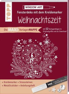 Maxi-Vorlagenmappe Fensterdeko mit dem Kreidemarker - Weihnachtszeit. Inkl. Original Kreul-Kreidemarker, Sticker und Gli - Ursula Schwab |
