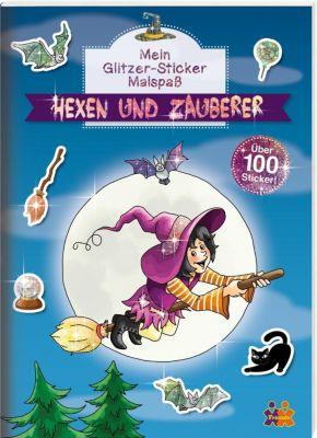Mein Glitzer-Sticker Malspass - Hexen und Zauberer
