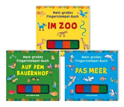 Mein grosses Fingerstempel-Set 3 Bd. - Das Meer, Im Zoo, Auf dem Bauernhof, Irene Brischnik, Hauke Kock, Ann Cathrin Raab