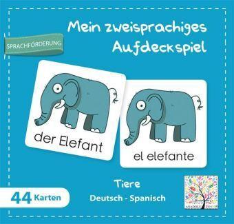 Mein zweisprachiges Aufdeckspiel, Tiere Deutsch-Spanisch (Kinderspiel)