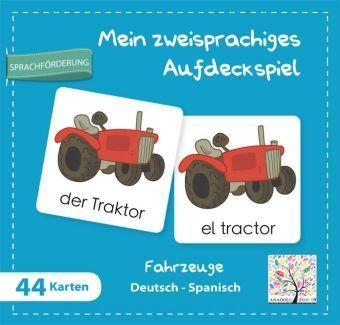 Mein Zzeisprachiges Aufdeckspiel, Fahrzeuge Deutsch-Spanisch (Kinderspiel)