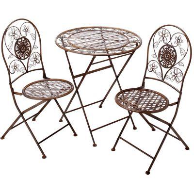 metall gartenm bel romantik 3er set farbe braun. Black Bedroom Furniture Sets. Home Design Ideas