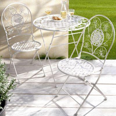 Gartenmobel weis metall  Metall-Gartenmöbel Romantik, 3er-Set Farbe: weiß | Weltbild.de