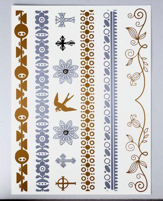 Metallic-Tattoo Blumen, einzeln