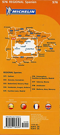 Michelin Karte Estremadura, Kastilien-La Mancha, Madrid; Espana Centro, Castilla-La Mancha, Madrid - Produktdetailbild 1