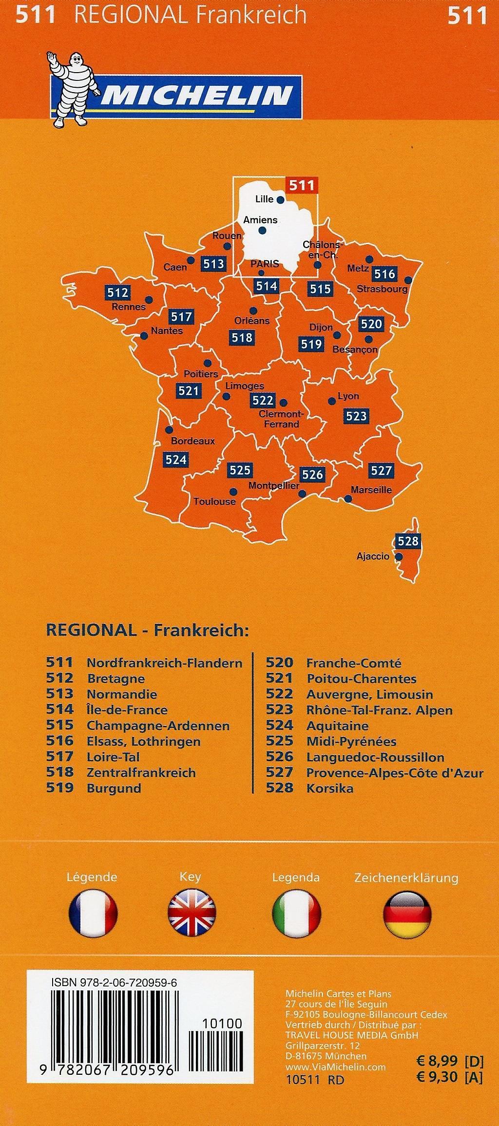 Nordfrankreich Karte.Michelin Karte Nordfrankreich Flandern Nord Pas De Calais Picardie