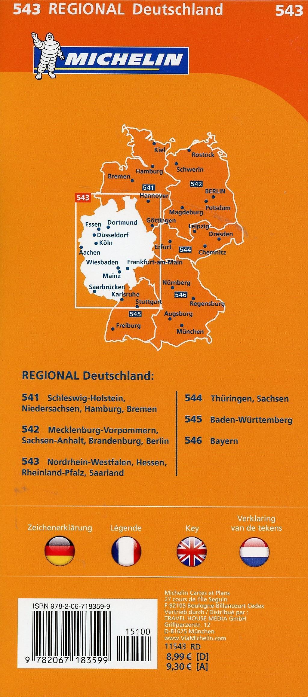Nordrhein Westfalen Karte.Michelin Karte Nordrhein Westfalen Hessen Rheinland Pfalz