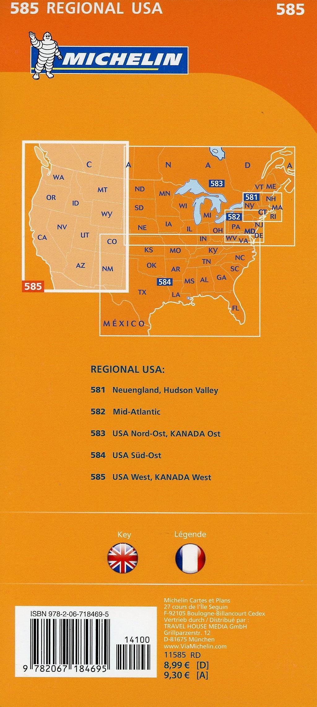 Karte Usa Westen.Michelin Karte Usa West Kanada West Usa West Canada West Weltbild Ch