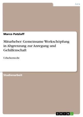 Miturheber: Gemeinsame Werkschöpfung in Abgrenzung zur Anregung und Gehilfenschaft, Marco Patzlaff