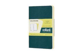 Moleskine Volant P/A6, 2er Set, Blanko, Soft Cover, Kieferngrün, Zitronengelb