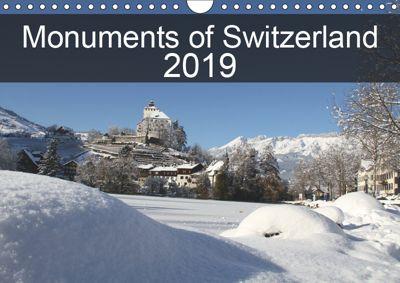 Monuments of Switzerland 2019 (Wall Calendar 2019 DIN A4 Landscape), Sebastian Wallroth