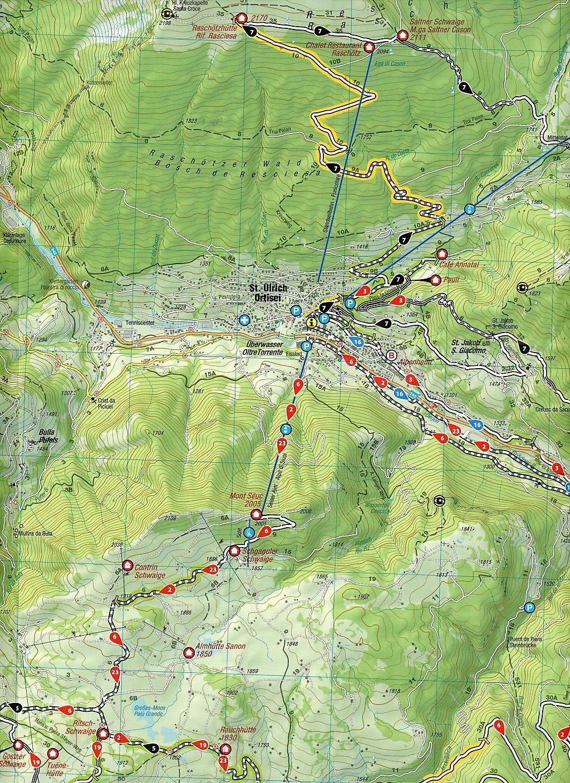 Mountainbike-Karte Gröden Seiser Alm Dolomites, Italy, Mountain Bike on