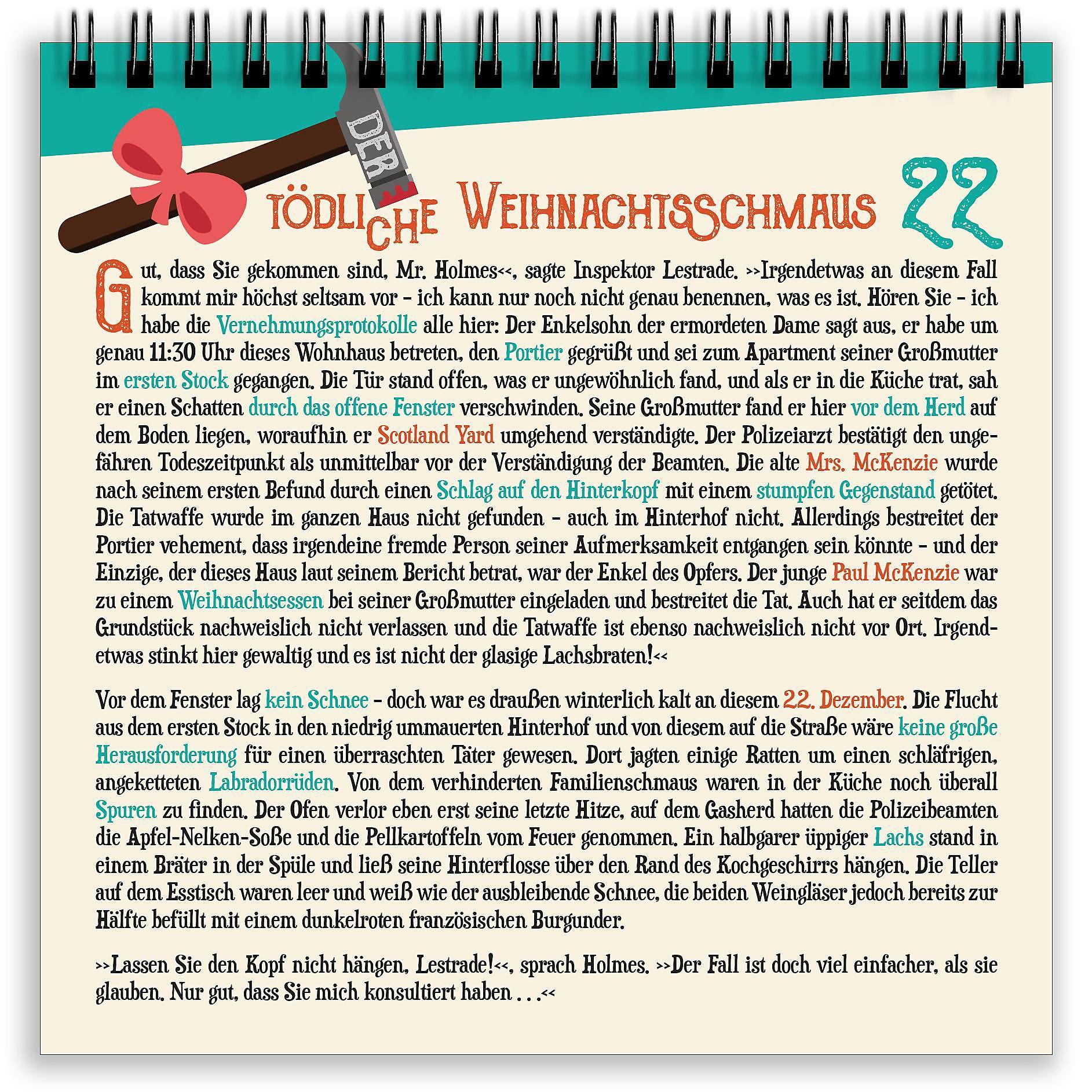 Krimi Weihnachtskalender.Mr Holmes Krimi Adventskalender 2019 Kalender Bei Weltbild De