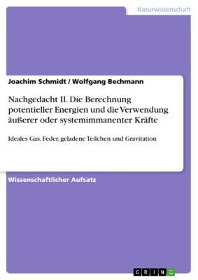 Nachgedacht II. Die Berechnung potentieller Energien und die Verwendung äußerer oder systemimmanenter Kräfte, Joachim Schmidt, Wolfgang Bechmann