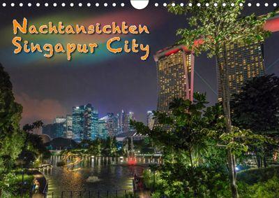 Nachtansichten Singapur City (Wandkalender 2019 DIN A4 quer), Dieter Gödecke