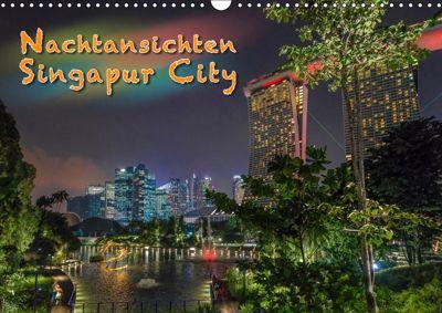 Nachtansichten Singapur City (Wandkalender 2019 DIN A3 quer), Dieter Gödecke