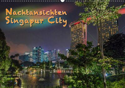 Nachtansichten Singapur City (Wandkalender 2019 DIN A2 quer), Dieter Gödecke