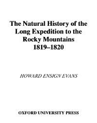Natural History of the Long Expedition to the Rocky Mountains (1819-1820), Howard Ensign Evans