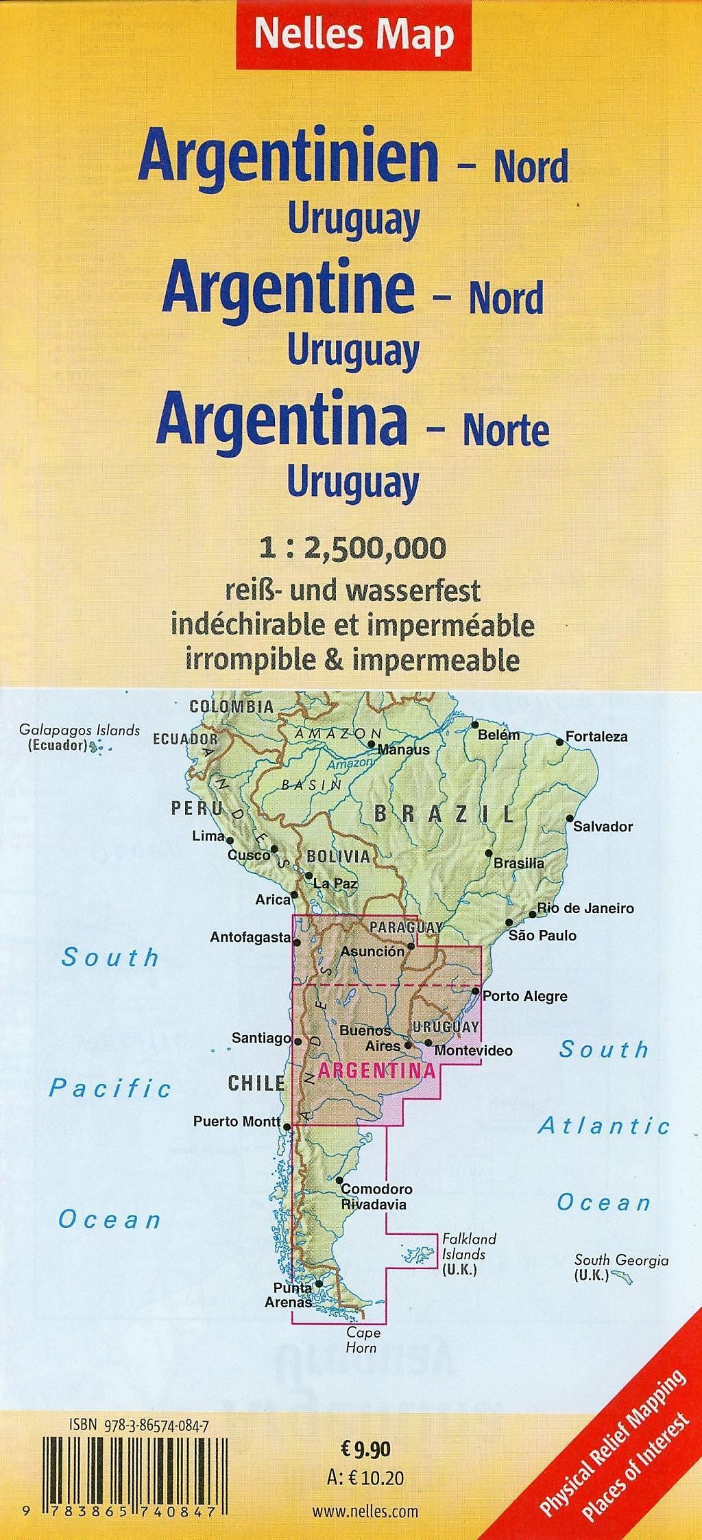 Nelles Map Landkarte Argentina: North, Uruguay Buch ...