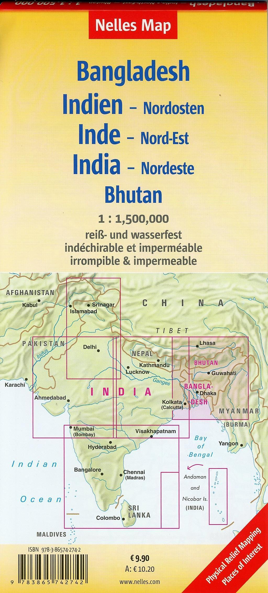 Nelles Map Landkarte Bangladesh India: North-East Bhutan Buch