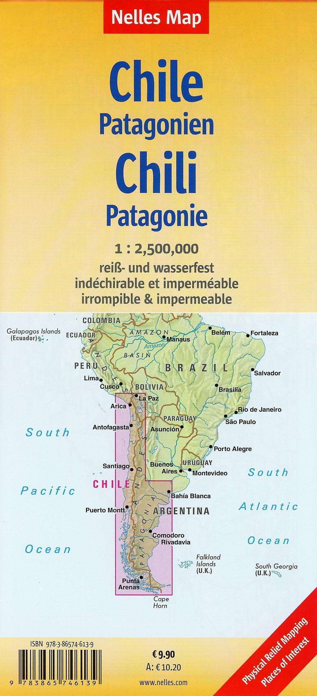 Patagonien Highlights Karte.Nelles Map Landkarte Chile Patagonia Chile Patagonien Chili