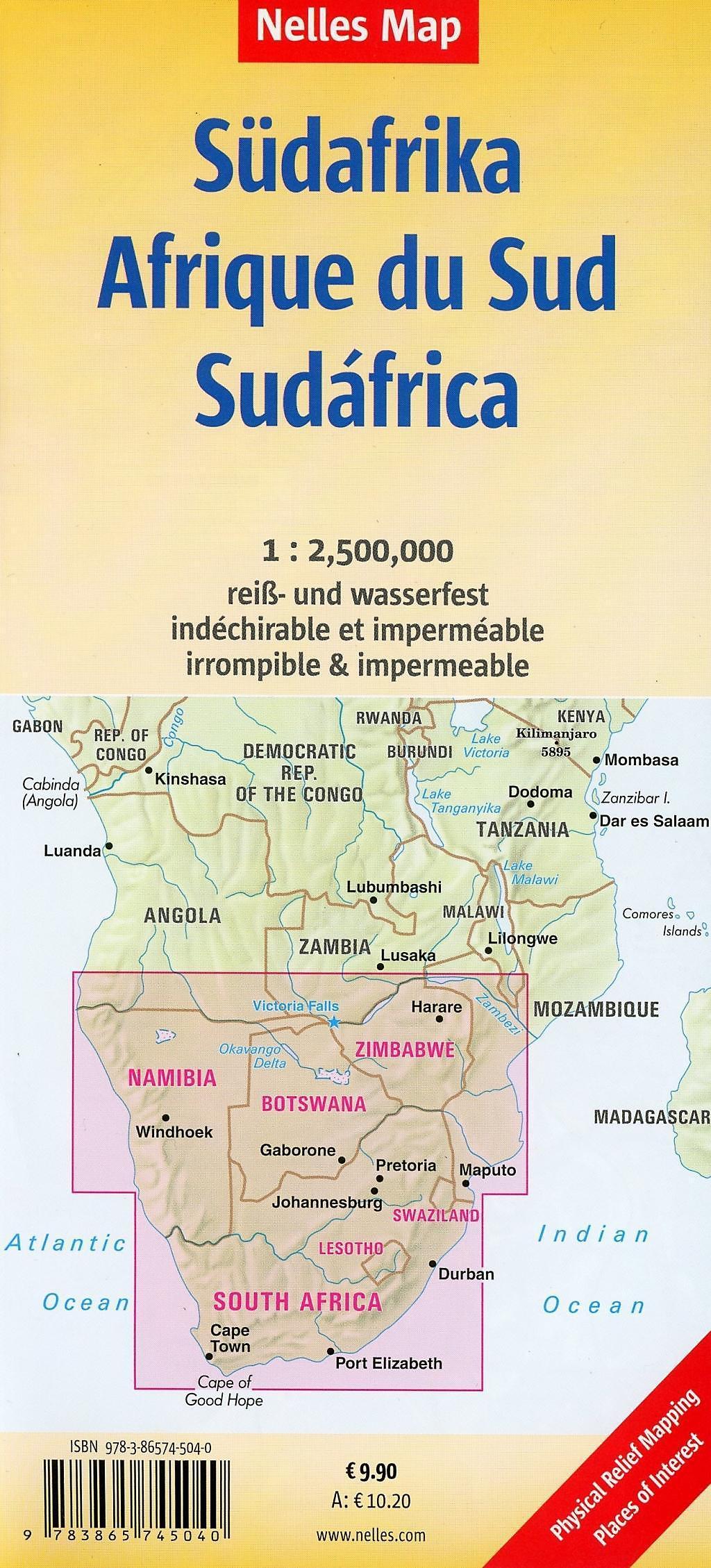 Nelles Map Landkarte South Africa, Namibia, Botswana, Zimbabwe ...