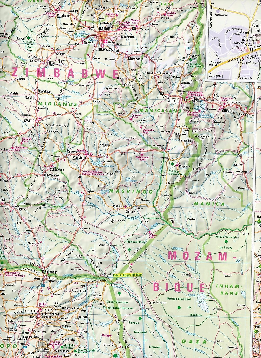 Nelles Map Landkarte South Africa, Namibia, Botswana, Zimbabwe ... on