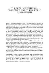 New Institutional Economics and Third World Development
