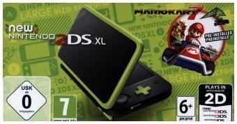 New Nintendo 2DS XL Schwarz und Apfelgrün + Mario Kart 7, 1 Konsole + Nintendo 2DS-Spiel