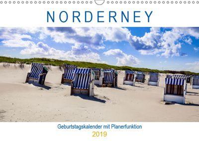 NORDERNEY Geburtstagskalender mit Planerfunktion (Wandkalender 2019 DIN A3 quer), Andrea Dreegmeyer