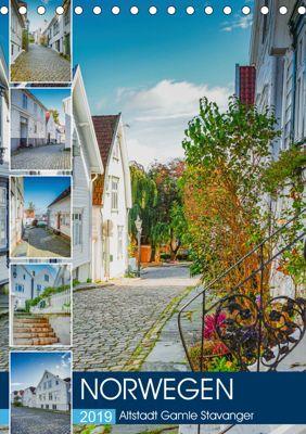Norwegen - Altstadt Gamle Stavanger (Tischkalender 2019 DIN A5 hoch), Dirk Meutzner