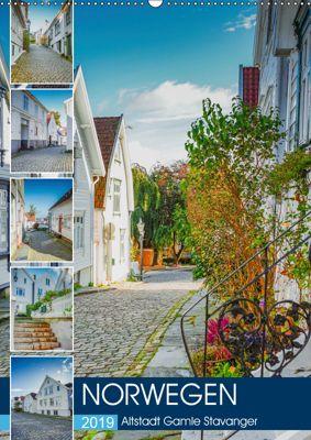 Norwegen - Altstadt Gamle Stavanger (Wandkalender 2019 DIN A2 hoch), Dirk Meutzner