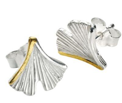 Ohrstecker Ginkgoblatt, 925er Silber