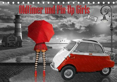 Oldtimer und Pin-Up Girls by Mausopardia (Tischkalender 2019 DIN A5 quer), Monika Jüngling alias Mausopardia