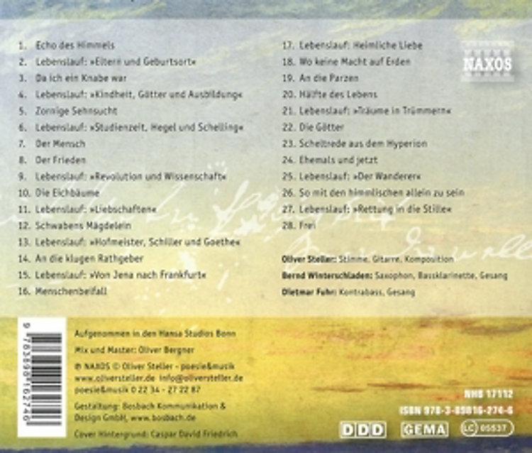 Oliver Steller Spricht Und Singt Hölderlin Echo Des