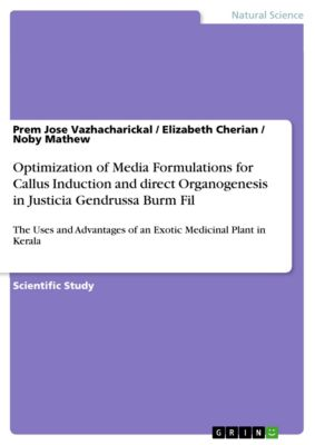 Optimization of Media Formulations for Callus Induction and direct Organogenesis in Justicia Gendrussa Burm Fil., Prem Jose Vazhacharickal, Elizabeth Cherian, Noby Mathew