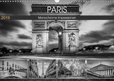 PARIS Monochrome Impressionen (Wandkalender 2019 DIN A3 quer), Melanie Viola