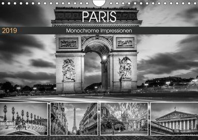 PARIS Monochrome Impressionen (Wandkalender 2019 DIN A4 quer), Melanie Viola