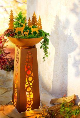 Pflanzsäule mit LED Beleuchtung Ornamante Garten Deko blumenSäule Pflanzschale