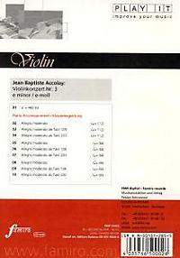 Play It - Lern-CD für Violine: Violinenkonzert Nr. 3 E-Moll - Produktdetailbild 1