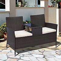 Polyrattan Gartenbank (Farbe: braun) - Produktdetailbild 1