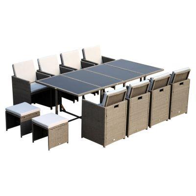 Polyrattan Sitzgruppe als 33-tlg. Set