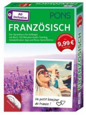 PONS All inclusive Französisch, Kursbuch, 3 Audio+MP3-CDs, Vokabeltrainer-App und Reise-Sprachführer